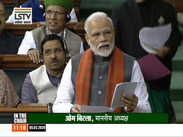 Prime Minister Narendra Modi speaking in Lok Sabha on Wednesday (Photo/ANI)