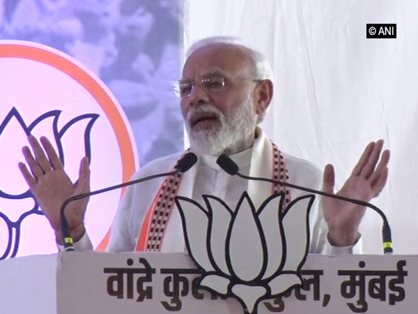 Prime Minister Narendra Modi addressing an election rally in Mumbai on Friday. Photo/ANI