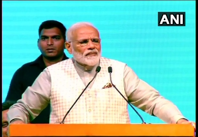 Prime Minister Narendra Modi speaking at a traders convention in New Delhi on Friday Photo/ANI.