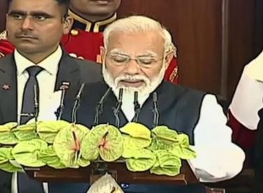 Prime Minister Narendra Modi speaking at joint session of Parliament on Tuesday. Photo/LSTV