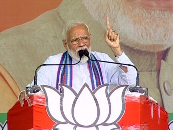 Prime Minister Narendra Modi addressing a rally in Basti on Saturday. Photo/ANI