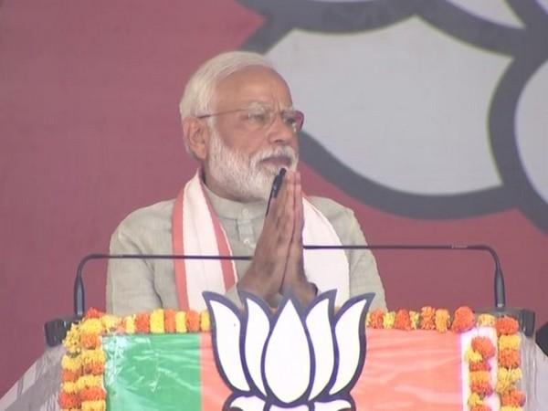 Prime Minister Narendra Modi at a rally in Kushinagar on Sunday. Photo/ANI