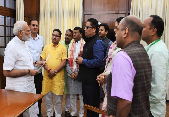 A delegation of Assam MPs with Prime Minister Narendra Modi in New Delhi on Friday.