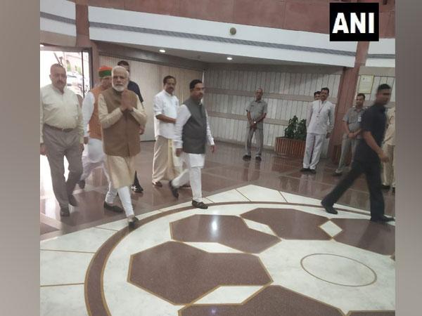 Prime Minister Narendra Modi at the Parliament in New Delhi on Tuesday. Photo/ANI