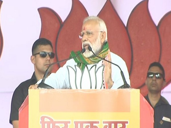 Prime Minister Narendra Modi addressing an election rally in Udaipur, Tripura, on Sunday. Photo/ANI