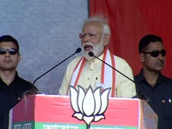 Prime Minister Narendra Modi addressing a rally in Birbhumi on Wednesday. Photo/ANI