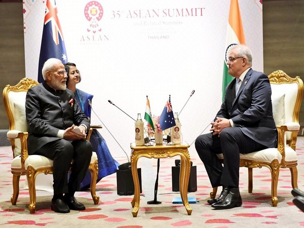 Prime Minister Narendra Modi during a meeting with his Australian counterpart Scott Morrison in Bangkok on Monday. (Photo courtesy: MEA spokesperson Raveesh Kumar)