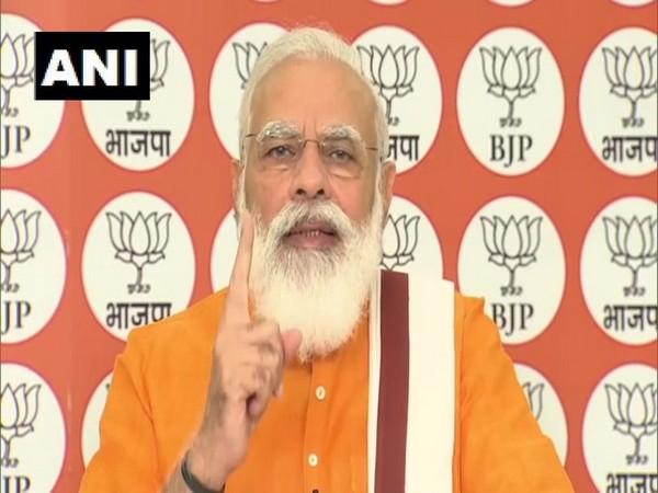 Prime Minister Narendra Modi speaking via video conference on Friday.