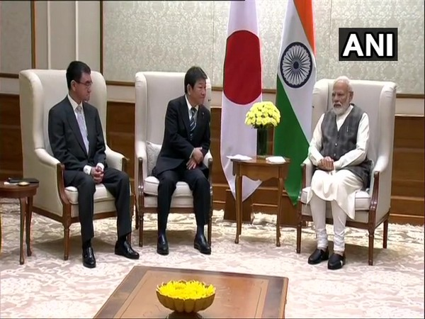 PM Modi met Japan's Foreign Minister Toshimitsu Motegi and Defence Minister Taro Kono in New Delhi on Saturday
