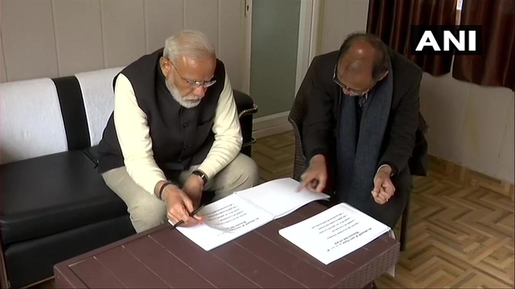Prime Minister Narendra Modi while reviewing development projects in Kedarnath on Saturday.