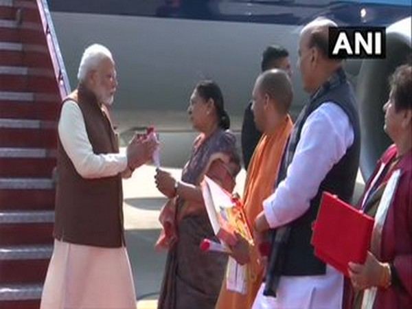 Prime Minister Narendra Modi arrives in Lucknow where he will preside over the inaugural ceremony of the DefExpo 2020 today.