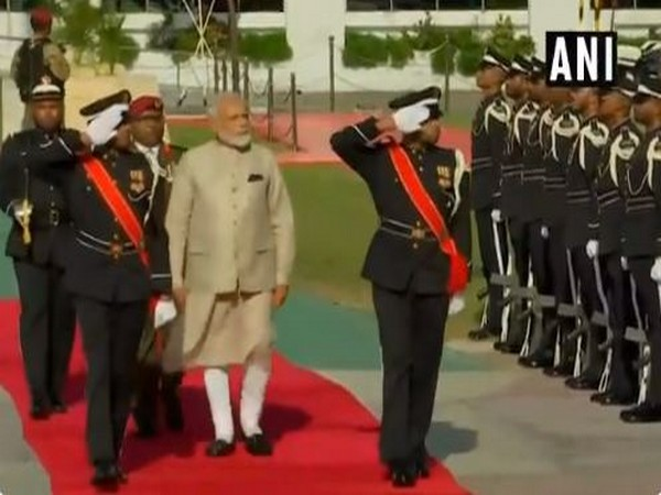 Prime Minister Narendra Modi inspects guard of honour at Republic Square in Male on Saturday. (Photo/ANI)