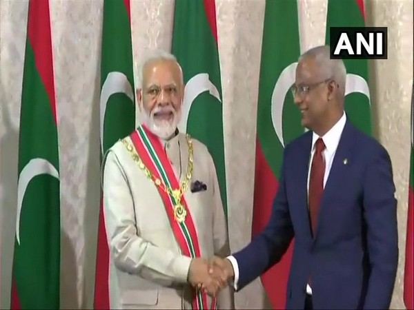 President of Maldives, Ibrahim Mohamed Solih confers upon PM Narendra Modi, Maldives' highest honour accorded to foreign dignitaries. (Photo/ANI)