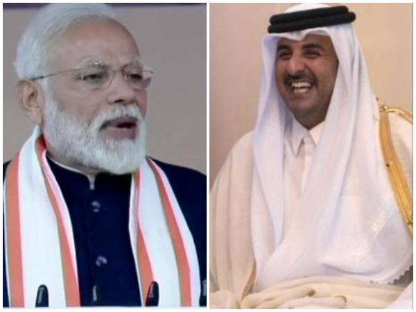 File photos of PM Modi (L) and Emir of Qatar (R)