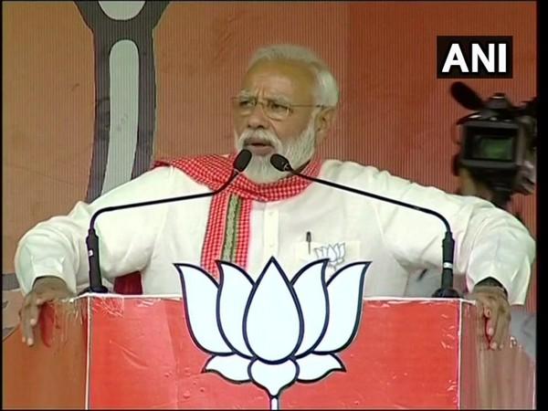 Prime Minister Narendra Modi addressing an election rally at Khandwa in Madhya Pradesh on Sunday. Photo/ANI