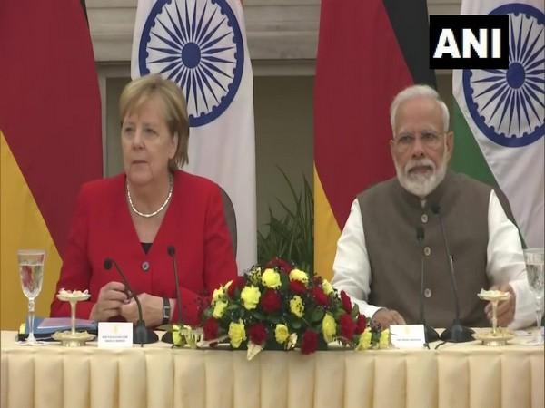 German Chancellor Angela Merkel and Prime Minister Narendra Modi. (Photo/ANI)