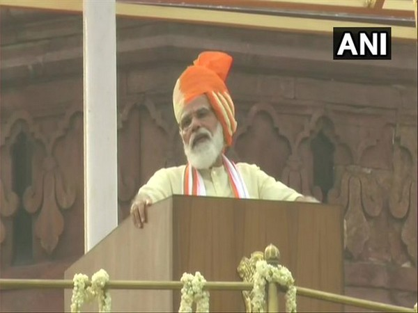 PM Modi delivering his seventh consecutive Independence Day speech from the iconic Red Fort. [Photo/ANI]