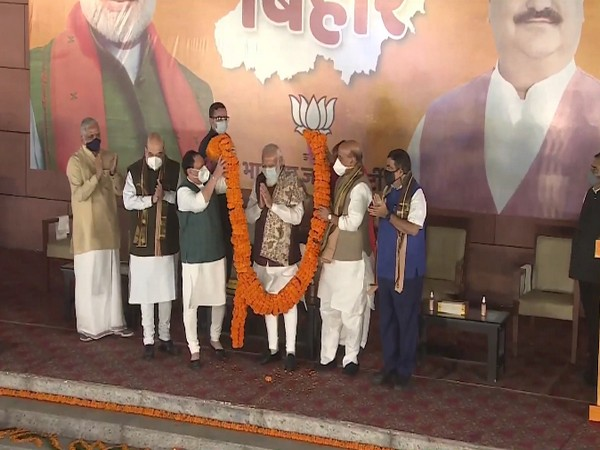 BJP party workers celebrated the Bihar election victory at BJP headquarters on Wednesday. (Image courtesy: Twitter)