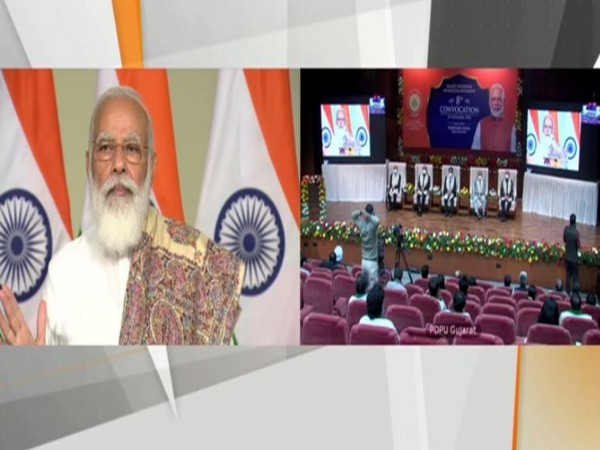 Prime Minister Narendra Modi addressing students at the convocation of Pandit Deendayal Petroleum University