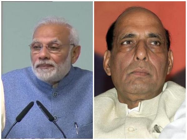 Prime Minister Narendra Modi (left), Defence Minister Rajnath Singh (right)