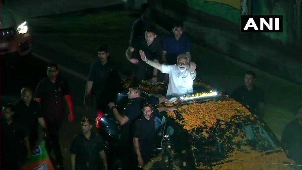 Prime Minister Narendra Modi holds a mega roadshow in Ranchi on Tuesday.