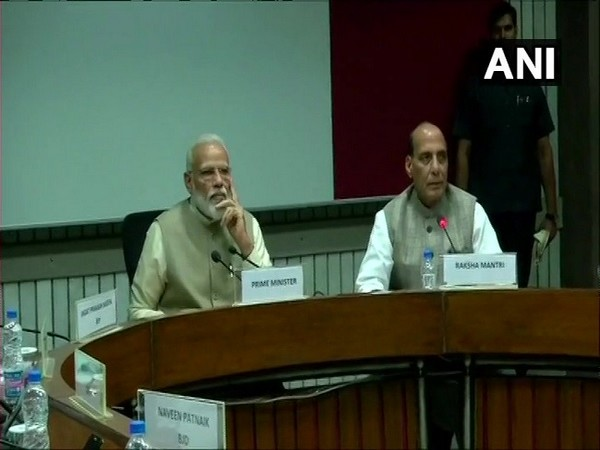 Prime Minister Narendra Modi and Defence Minister Rajnath Singh attending the meeting of heads of all political parties in New Delhi on June 19. Photo/ANI.