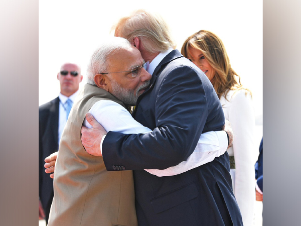 "Prime Minister Narendra Modi greeted President Donald Trump with a ""bear hug"" as the latter arrived in Ahmedabad"
