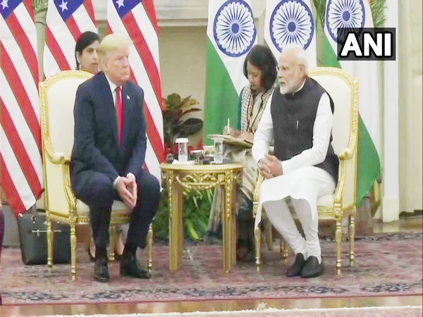 US President Donald Trump and Prime Minister Narendra Modi at the Hyderabad House in New Delhi on Tuesday.
