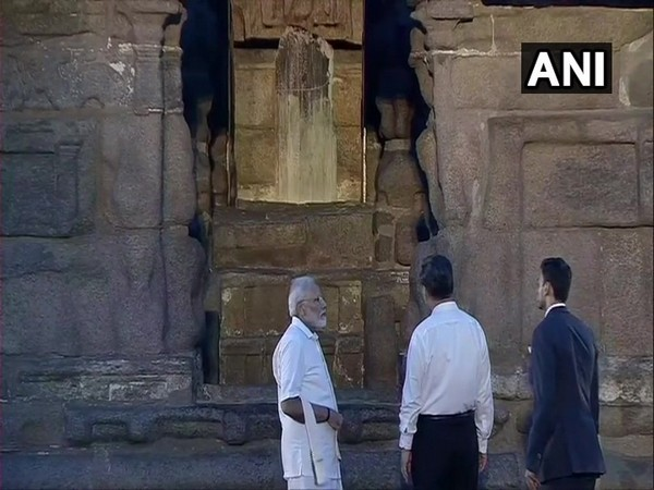 The two leaders at the Shore Temple in Mamallapuram on Friday