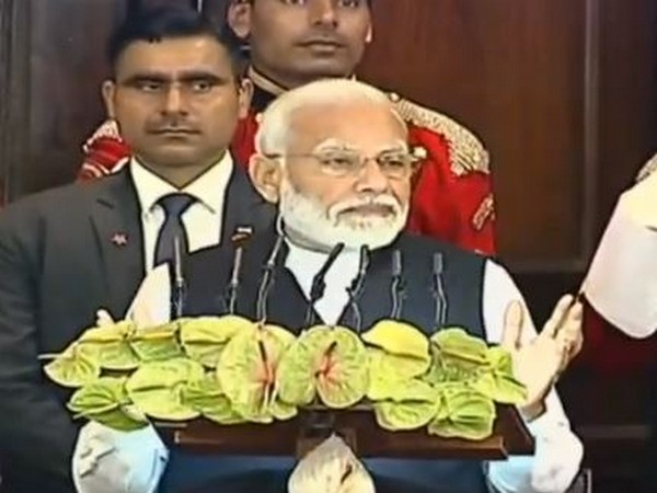 Prime Minister Narendra Modi addressing a joint session of Parliament on Tuesday. Photo/LSTV