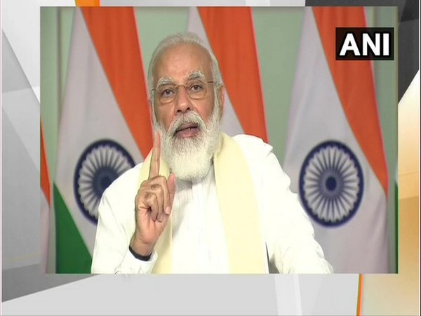 Prime Minister Narendra Modi speaking after inaugurating submarine optical fibre cable connecting Chennai and Port Blair through video conferencing on Monday. [Photo/ANI]