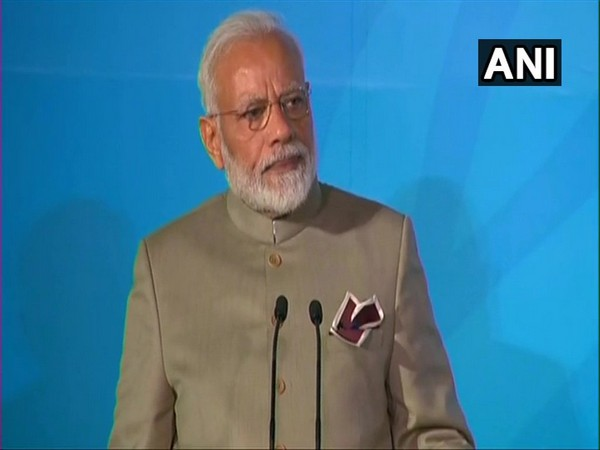 Prime Minister Narendra Modi speaking at the UN Climate Action Summit 2019 in New York on Monday (Photo/ANI)