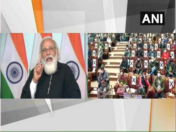 Prime Minister Narendra Modi addressing J-K residents via video-conferencing on Saturday. (Photo/ANI)