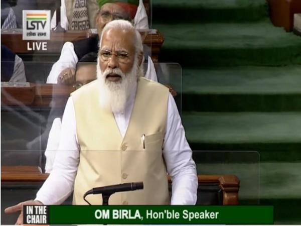 Prime Minister Narendra Modi in Lok Sabha on Wednesday. (Photo/ANI)
