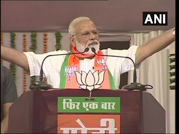 Prime Minister Narendra Modi addressing an election rally in Gondia, Maharashtra, on Wednesday. Photo/ANI