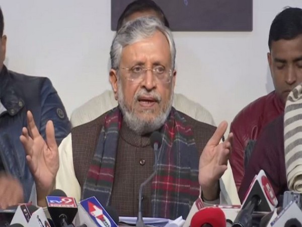 Bihar deputy CM Sushil Kumar Modi addressing press conference in Patna on Saturday (photo/ANI)