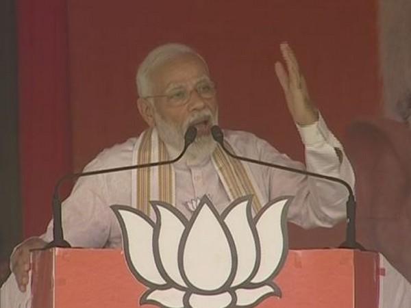 Prime Minister Narendra Modi addressing an election rally at Gohana in Haryana on Friday. Photo/ANI