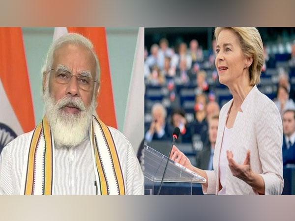 Prime Minister Narendra Modi and European Union chief Ursula von der Leyen.