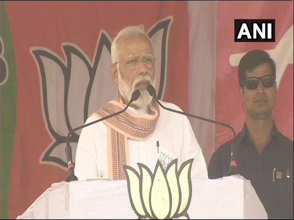 PM Modi addressing a election rally at Bankura on Thursday