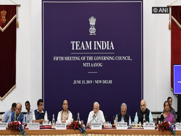 Prime Minister Narendra Modi (centre) in New Delhi on Saturday during the meeting of Governing Council of NITI Aayog. Photo/ANI