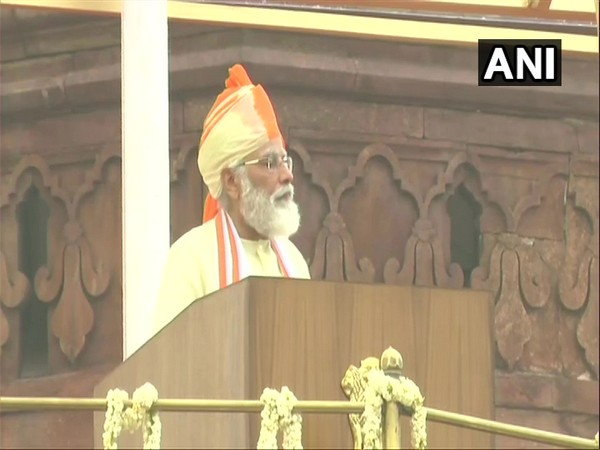 Prime Minister Narendra Modi addressing the nation from Red Fort. (Photo/ANI)