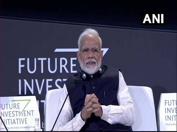 Prime Minister Narendra Modi speaking at Future Investment Initiative at Riyadh on Tuesday. Photo/ANI