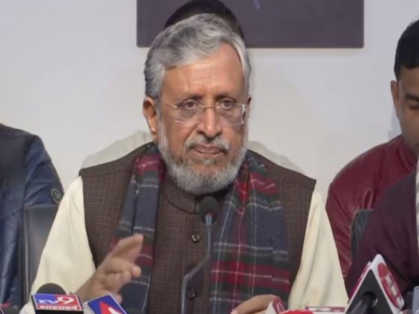 Bihar deputy CM Sushil Modi addressing press conference in Patna on Saturday