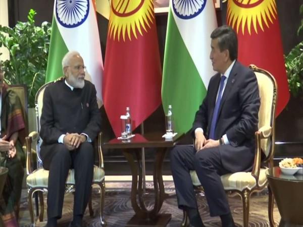 Prime Minister Narendra Modi with the Kyrgyz President Sooronbay Jeenbekov during the bilateral in Bishkek on Friday (Photo/ANI)