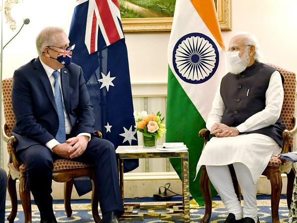 Australian Prime Minister Scott Morrison met with Indian counterpart Narendra Modi in Washington on Thursday. (Photo/ANI)