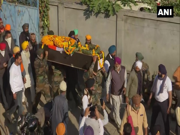 Indian Army personnel Sukhbir Singh's mortal remains brought to his native village in Punjab on November 28. (Photo/ANI)