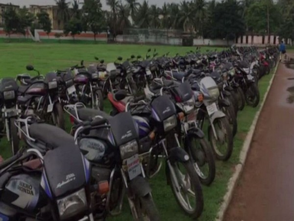 Visual of seized motorcycles in Vishakhapatnam.