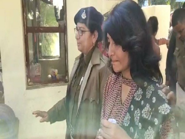 A visual of the accused in honey trap case, accused in the honey trape case, Shweta Vijay Jain in Bhopal, Madhya Pradesh on Monday.