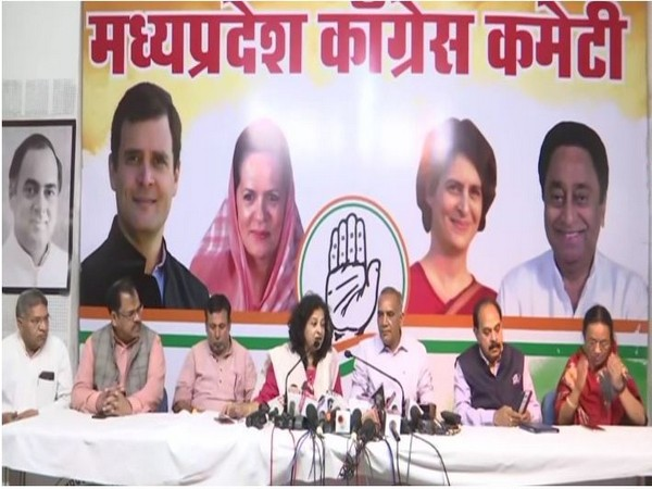 Congress leaders addressing a press conference in Bhopal on Saturday. Photo/ANI