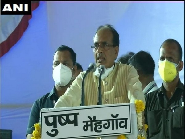 CM Shivraj Singh Chouhan addressing a public rally in Madhya Pradesh Bhind on Sunday.